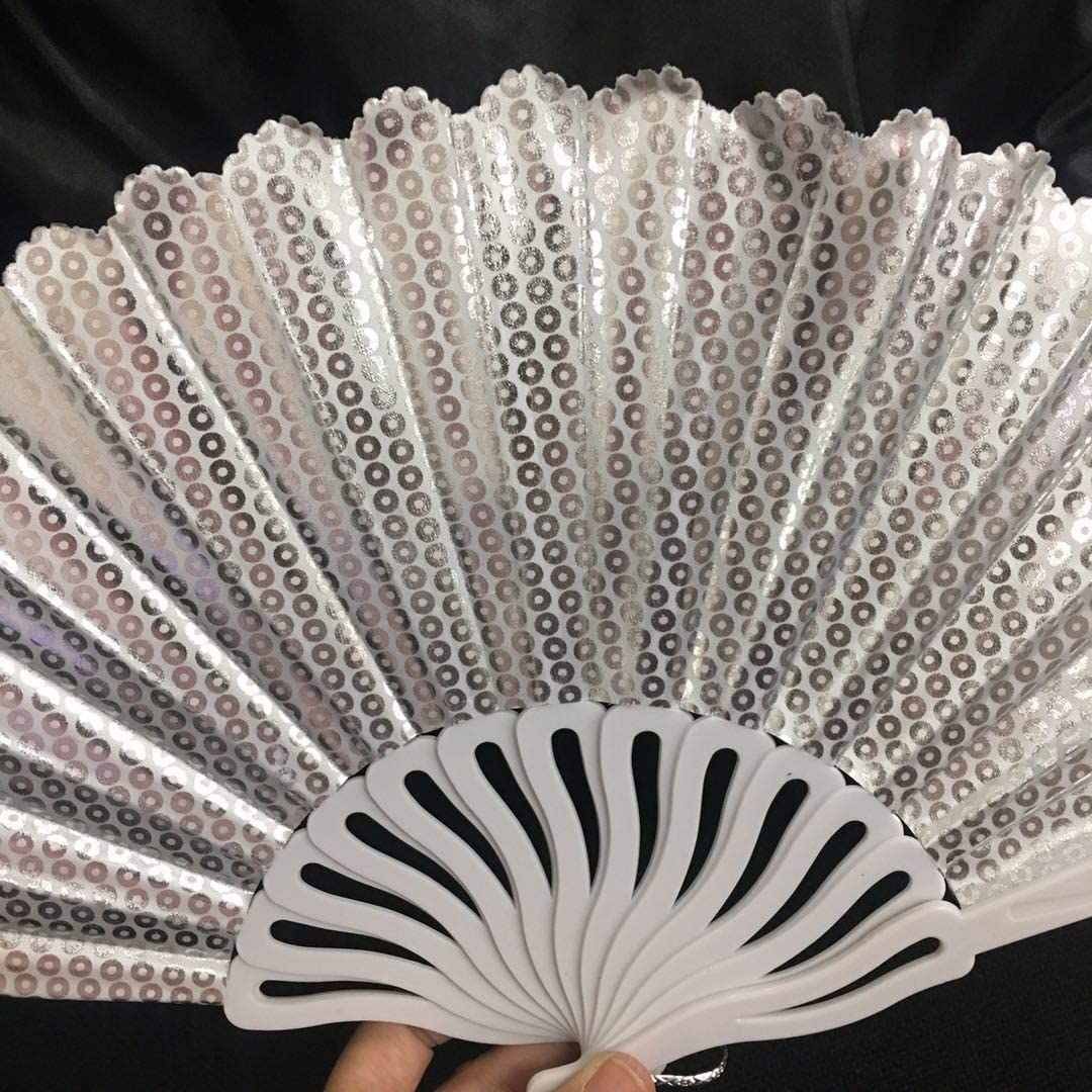 2PC LADY HAND FAN CHINESE JAPANESE FOLDING PEACOCK FEATHER FABRIC FLORAL SPARKLE