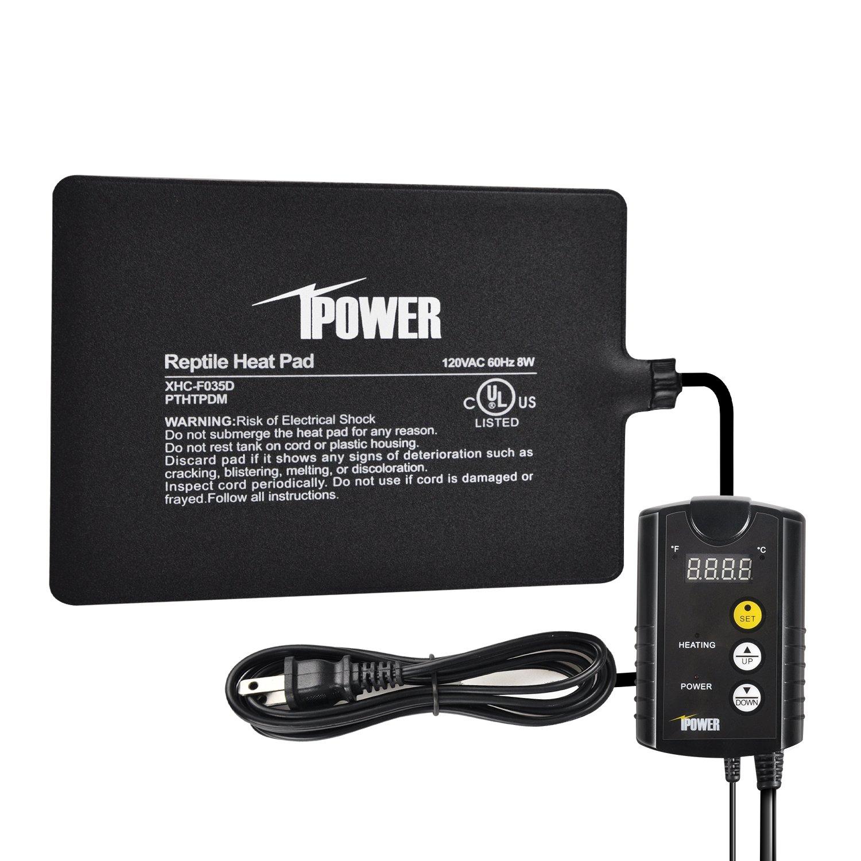 iPower 6''x 8'' 8 Watt Terrarium Reptile Heating Pad Under Tank Warmer Heater Mat with Digital Thermostat