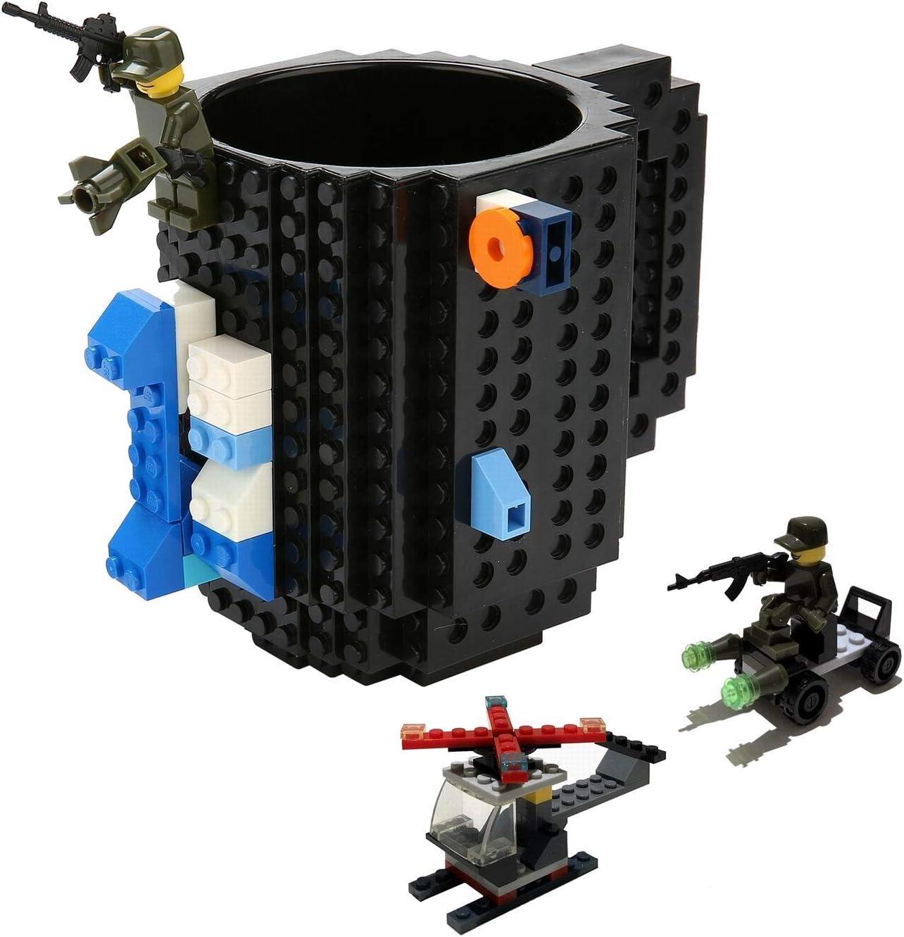 Fun Brick Mug-FUBARBAR Creative Building 12oz Coffee Cup, Build on Blocks Desk Drinkware, Funny Toy for Kid Birthday Gift, Christmas, Party, Xmas, 3Pack Blocks (Black)