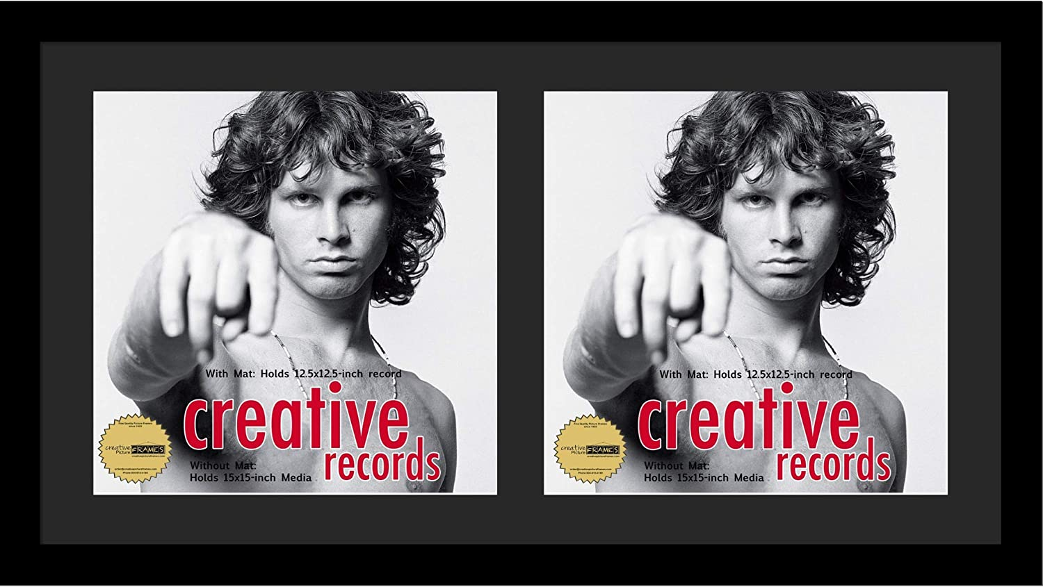 Creative Picture Frames 16x30-inch Double Record Album Cover Frame with Black Matting Displays 2 Individual LP Covers