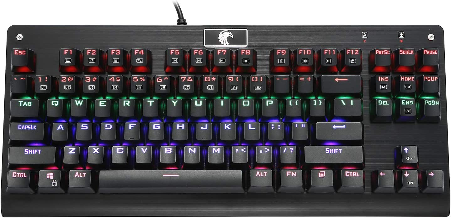 HUO JI Z-77 Mechanical Gaming Keyboard, Multicolor LED Backlit with Brown Switches,Tenkeyless 87 Keys Anti-Ghosting for Mac PC, Black