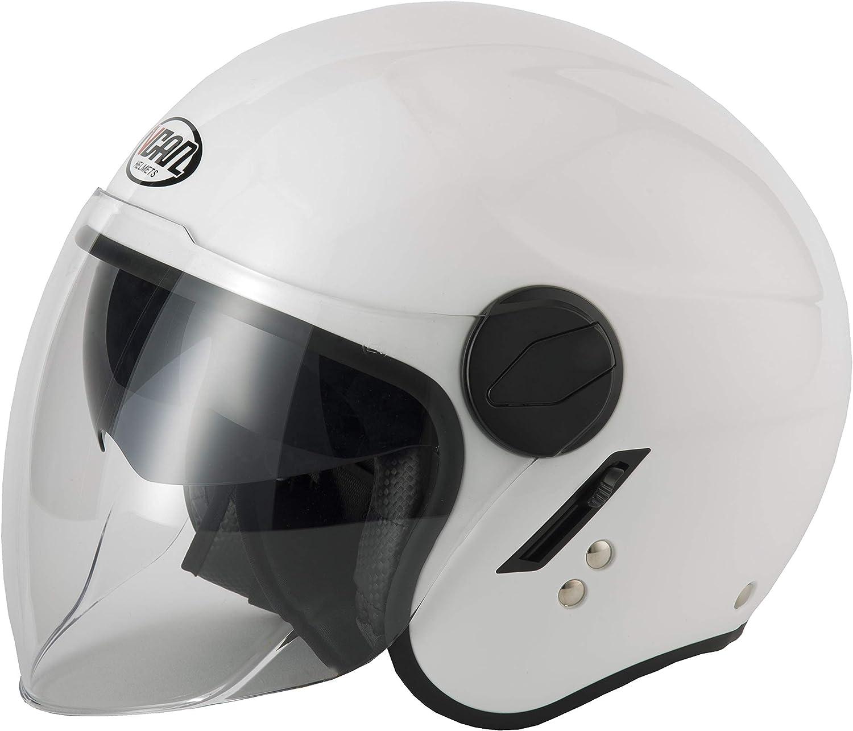 Vcan V595 Dual Visor Open Face Motorcycle Helmet Gloss Black, X-Small