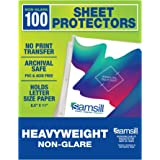 Samsill 100 Non-Glare Heavyweight Sheet Protectors, Reinforced 3 Hole Design Plastic Page Protectors, Archival Safe, Top…