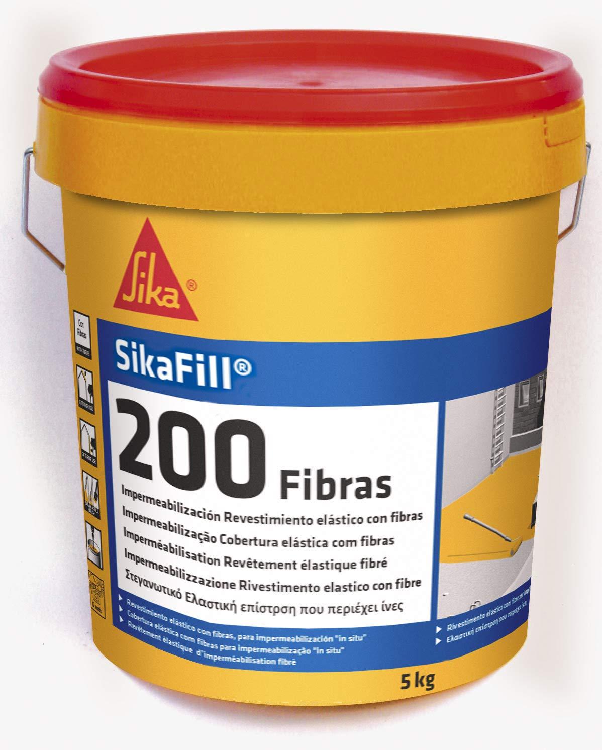 Sikafill-200 fibras, Pintura elástica con fibras para impermeabilización, Gris, 5kg product image