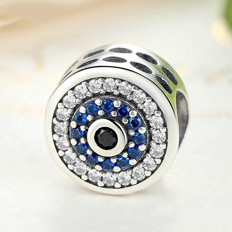 Evereena Silver Beads Bracelet for Girls Samsara Charm Bead with Blue Luxury CZ Stone Womens Jewelry