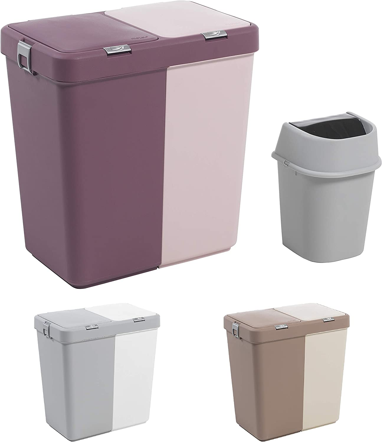Mabel Home Plastic Laundry Hamper with Lid, 2 Sections, Large Laundry Basket – Extra Trash Bin (1,6 Gallons) inc. (Purple-Pink)