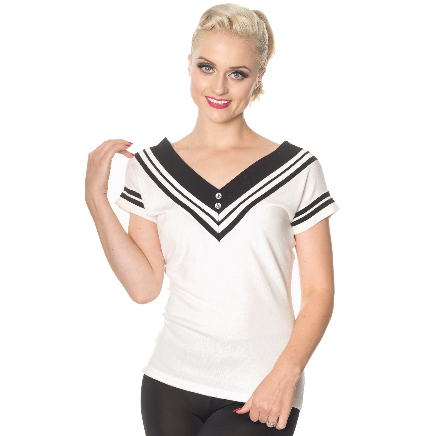 Swing Dance Dresses | Lindy Hop Dresses & Clothing Dancing Days Cedar Nautical Sailor Short Sleeve 1950s Vintage Retro Sweater Top £26.99 AT vintagedancer.com