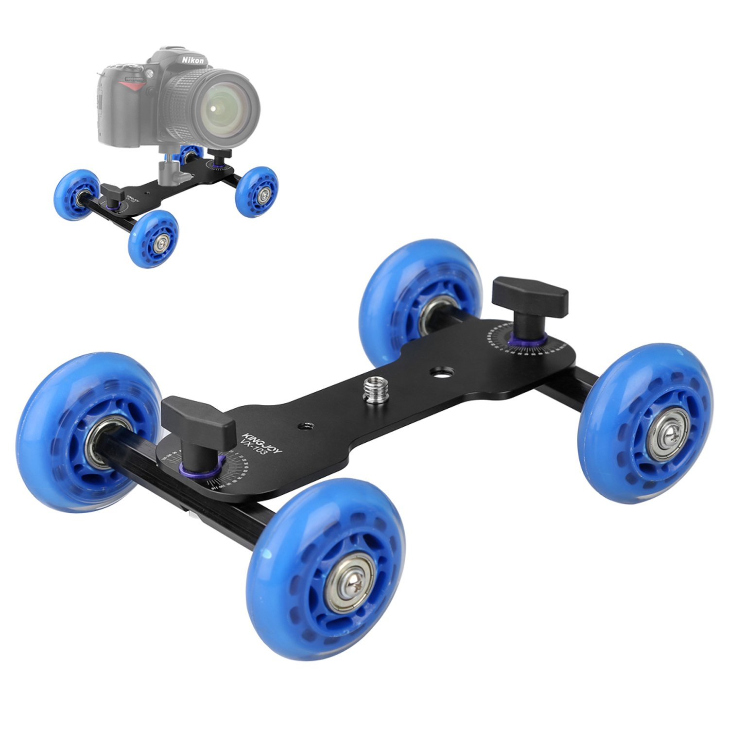 pangshi Tabletop Mobile Rolling Slider Dolly Car Skater Video Track Rail Stabilizer with 1/4-inch Quick Male Thread 11lbs/5kg Load Capacity Compatible with Speedlite DSLR Cameras Video Camcorders