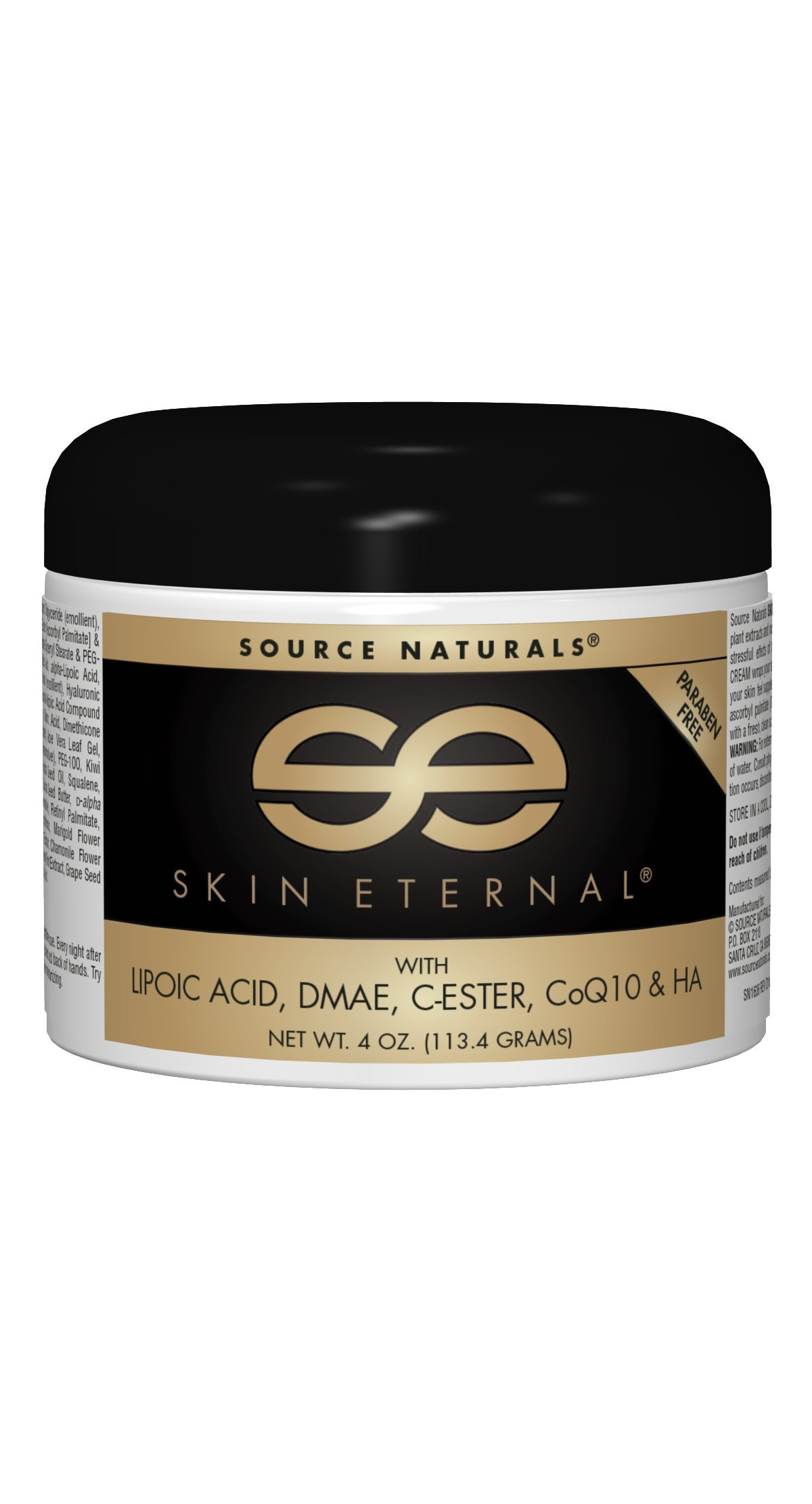 Source Naturals Skin Eternal Cream Moisturizing Skin Food With C-Ester, DMEA, Lipoic Acid & More - 4 oz