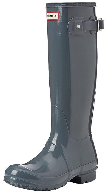new arrival b37cf f5428 Hunter Original Tall Gloss, Bottes femme, Grey (Graphite), 35.5 EU