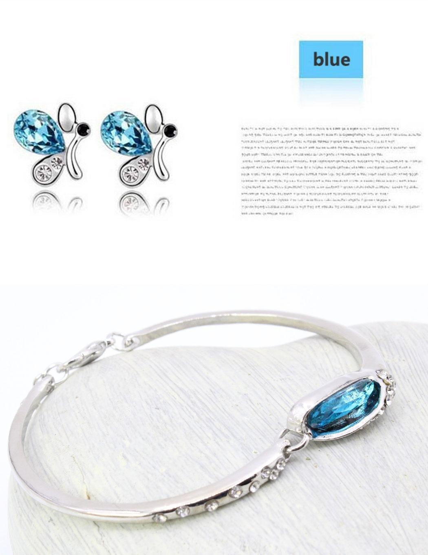 Marris 3PC Set Women Rhinestone Butterfly Pendant Choker Necklace Earrings Bracelet Set Jewelry Sets