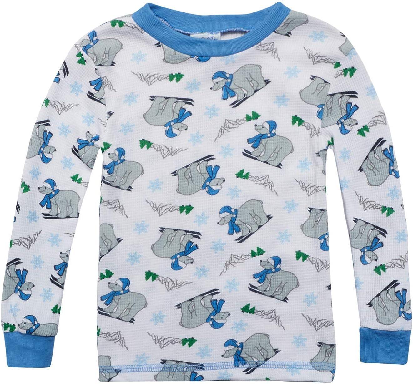 Infant /& Toddler 2-Pack Mon Petit Baby Boys /& Girls Thermal Pajama Pant Sets with Fun Prints