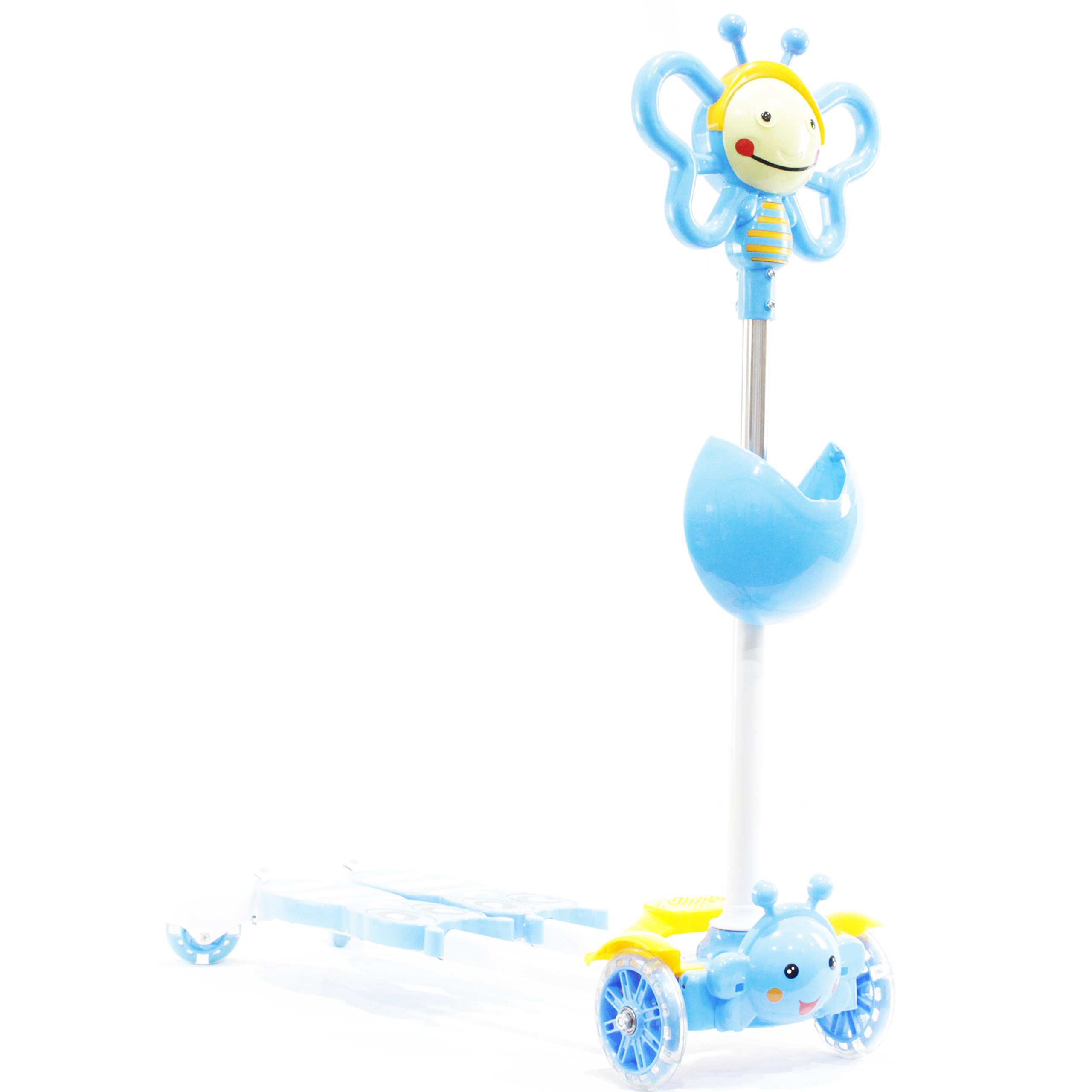 Kids 4 Wheels Scooter Kick Scooter-Bee Design-Blue Color