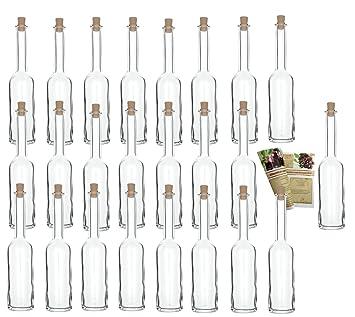 gouveo 24 botellas vacías de 200 ml con corchos, botellas de vidrio vacías, botellas
