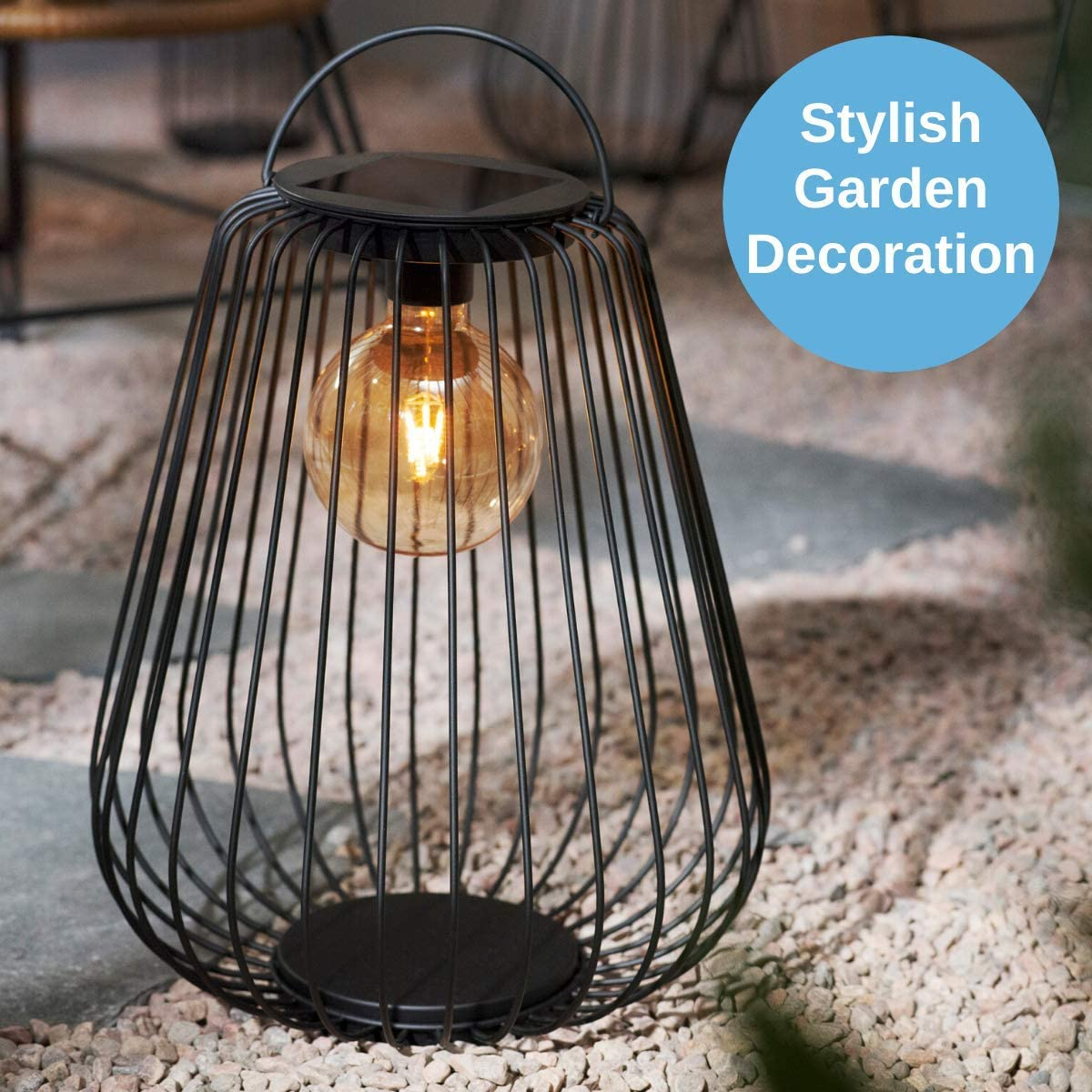 Diameter 37 cm Large CLAS Ohlson /® north Light Solar Hanging Basket Light Outdoor Lamp Metal with a Retro Style LED Bulb