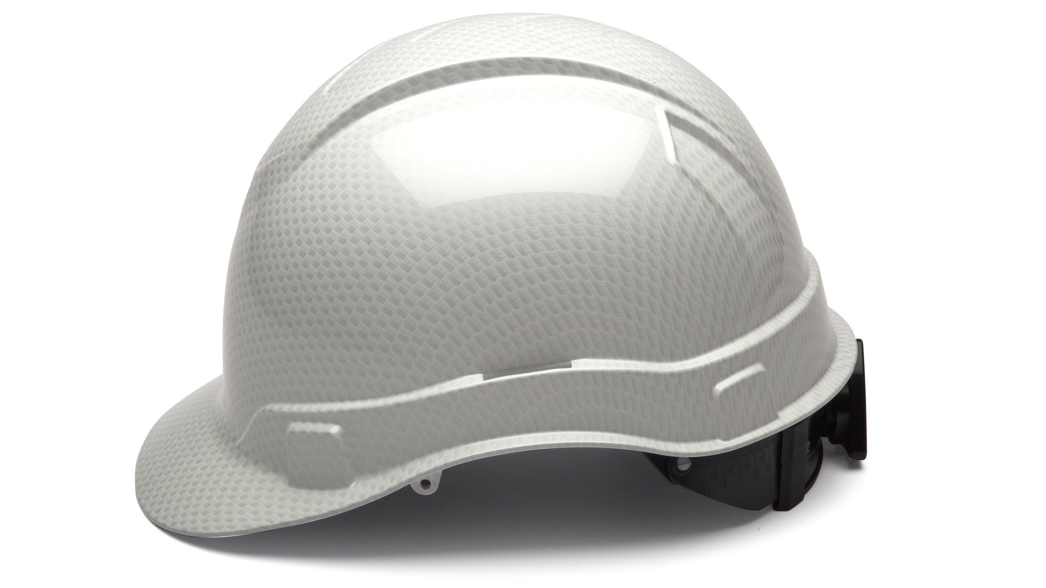 Cap Style Hard Hat, Adjustable Ratchet 4 Pt Suspension, Durable Protection safety helmet, White Shiny Graphite Pattern Design, by Tuff America