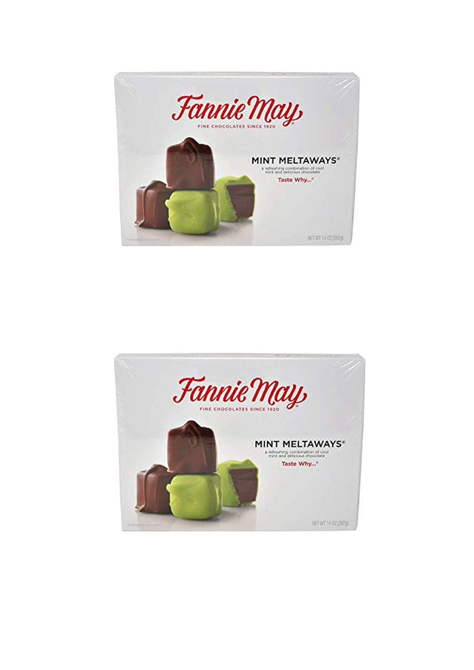 Fannie May Chocolate Candy (Mint Meltaways, 14oz) (2 PACK) by Fannie May
