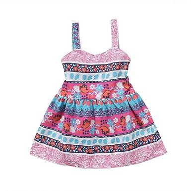 7fdf430a5 Amazon.com  FOCUSNORM Infant Toddler Baby Girl Boho Dress Straps ...