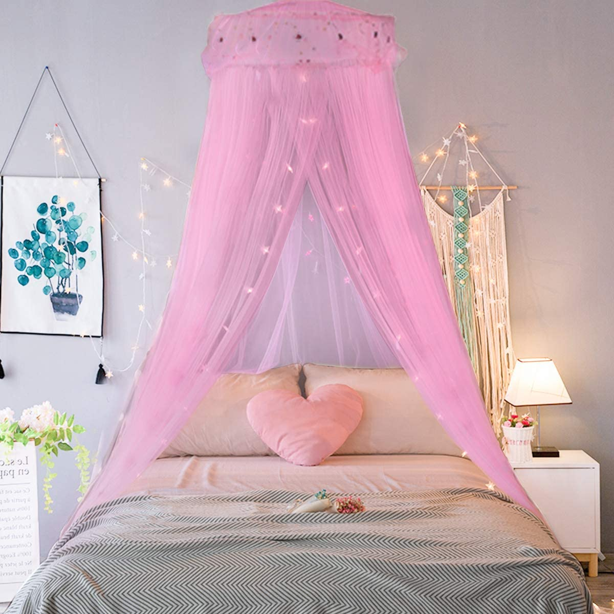 Bed Canopy Curtains Princess Mosquito Net Lace Dome Bed Canopy for Children Fly Insect Protection Indoor Outdoor Decorative Height 250cm//98.4in White Mosquito Net for Bed