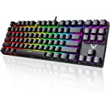 PICTEK Mechanical Gaming Keyboard, Compact 87 Key RGB Computer Keyboard with Blue Equivalent Switches, 27 LED Lighting…