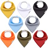 KiddyCare Baby Bibs 8 Pack - 100% Organic Cotton for Drooling and Teething - Soft & Absorbent Bandana Drool Bibs for Baby Boy