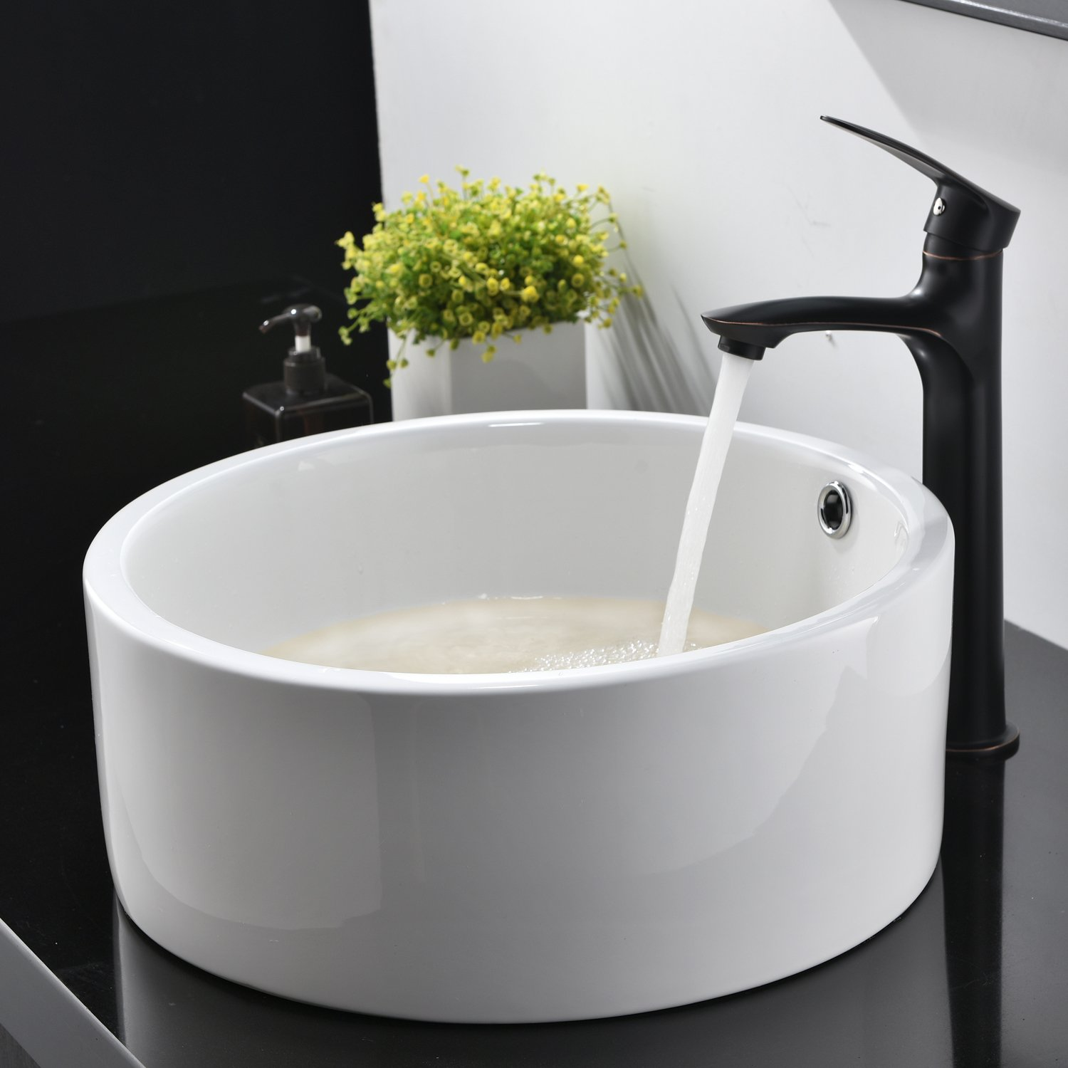 Hotis White Porcelain Ceramic Countertop Bowl Lavatory Round Above Counter Vanity Bathroom Vessel Sink by HOTIS HOME (Image #4)