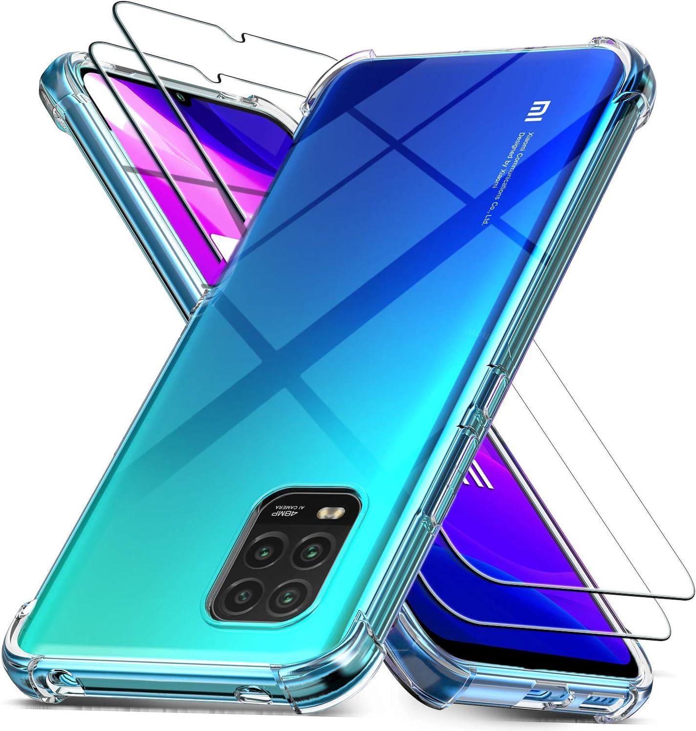 Ferilinso Fundas para Xiaomi Mi 10 Lite 5G con 2 Piezas Protector de Pantalla, Funda Transparente para Xiaomi Mi 10 Lite 5G, Película de Cristal Templado, para Xiaomi Mi 10 Lite 5G