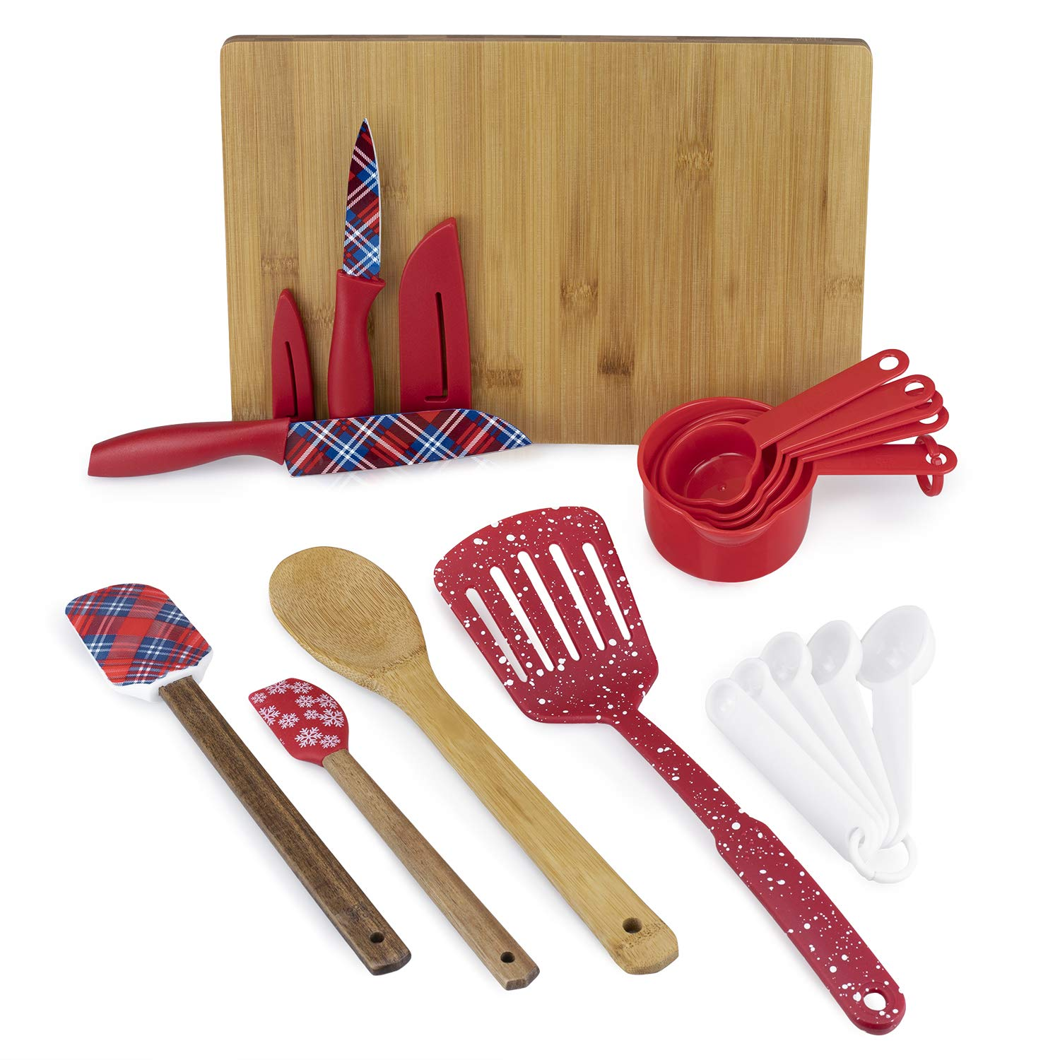 Cook with Color 19 Pc Kitchen Gadget Set, Christmas Gift, Christmas Kitchen Decor, Silicone Spatulas, Acacia Wood Spoon & Cutting Board, Measuring Cups and Spoons, Stainless Steel Knives, Nylon Turner