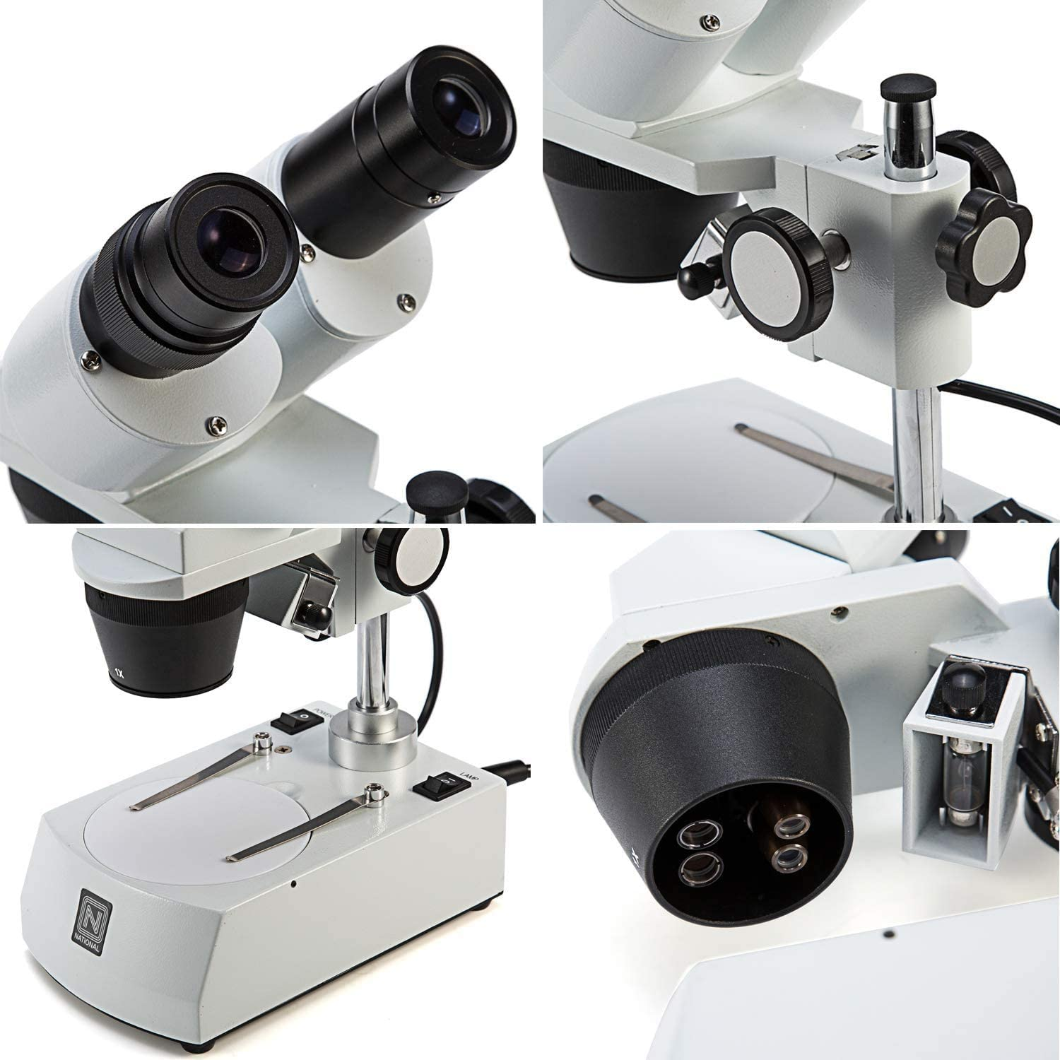 Tungsten Lighting Swift S303 10X//30X Magnification Binocular Stereo Microscope with Wide-field 10X Eyepieces and Fixed Pillar Stand Reversible Black//White Stage Plate