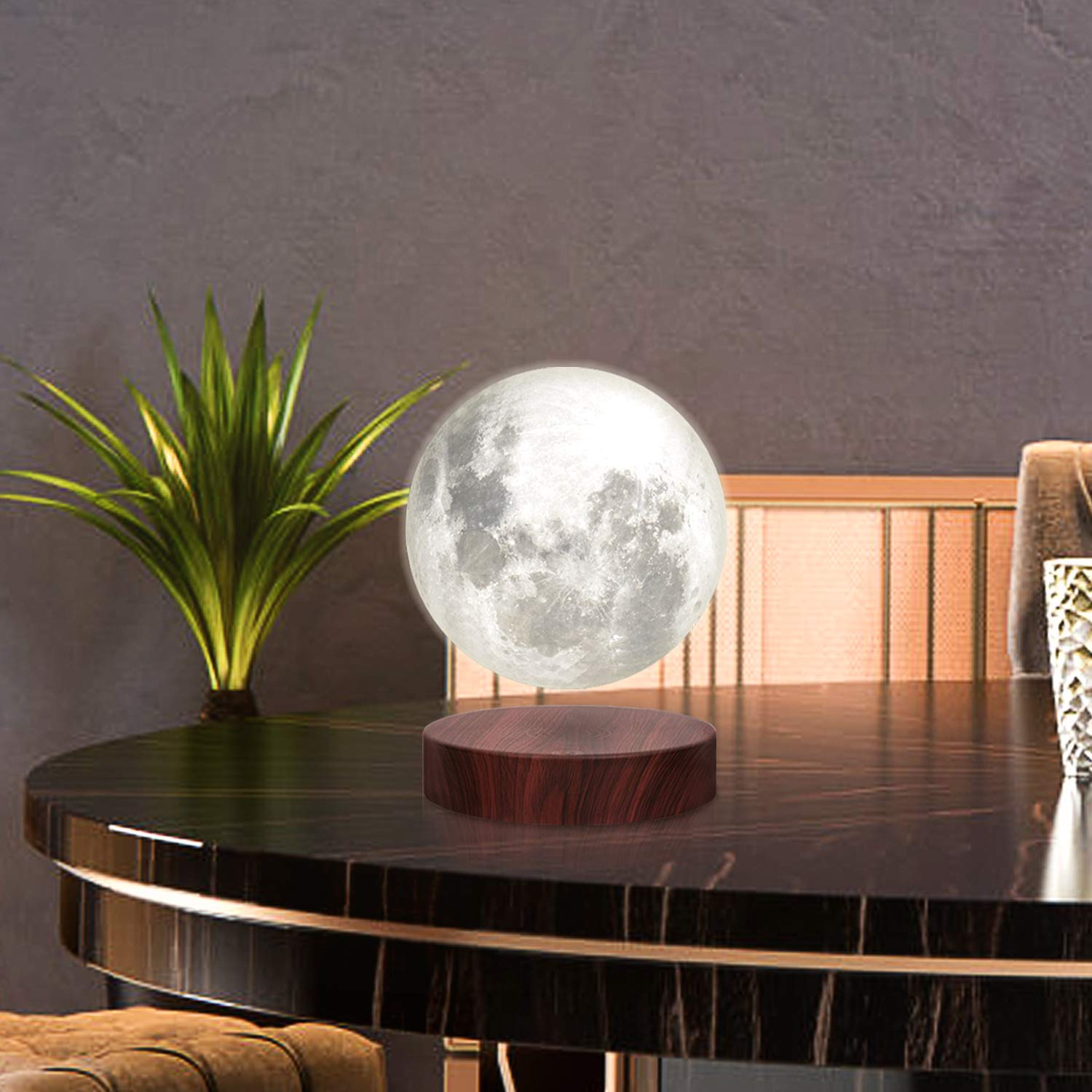 VGAzer Levitating Moon Lamp,Floating and Spinning in Air Freely with Luxury Wooden Base and 3D Printing LED Moon Light 3 Colors,for Unique Gifts,Room Decor,Night Light,Office Desk Tech Toys - 6 Inch