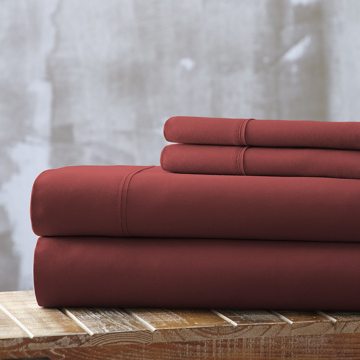 Spirit Linen, Inc Hotel 5th Ave EE-FULL-BURGUNDY-4PC Full Burgundy Everyday Essentials 1800 Series 4Pc Sheet Set