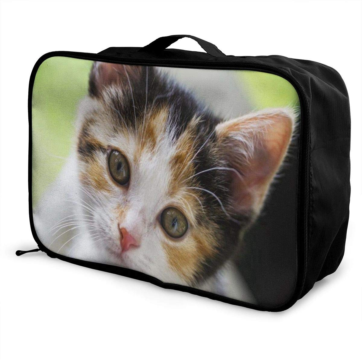 Lightweight Large Capacity Portable Luggage Bag Cute Cat Travel Waterproof Foldable Storage Carry Tote Bag