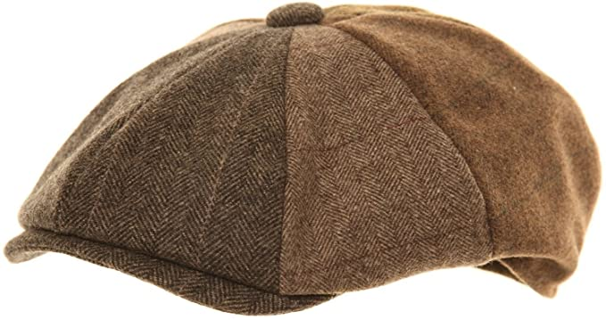 Mens Brown Baker Boy Cap 8 Panel Newsboy Hat Gentlemans Peaked Country Flat  Cap (57cm 6a6fa6e3fc33
