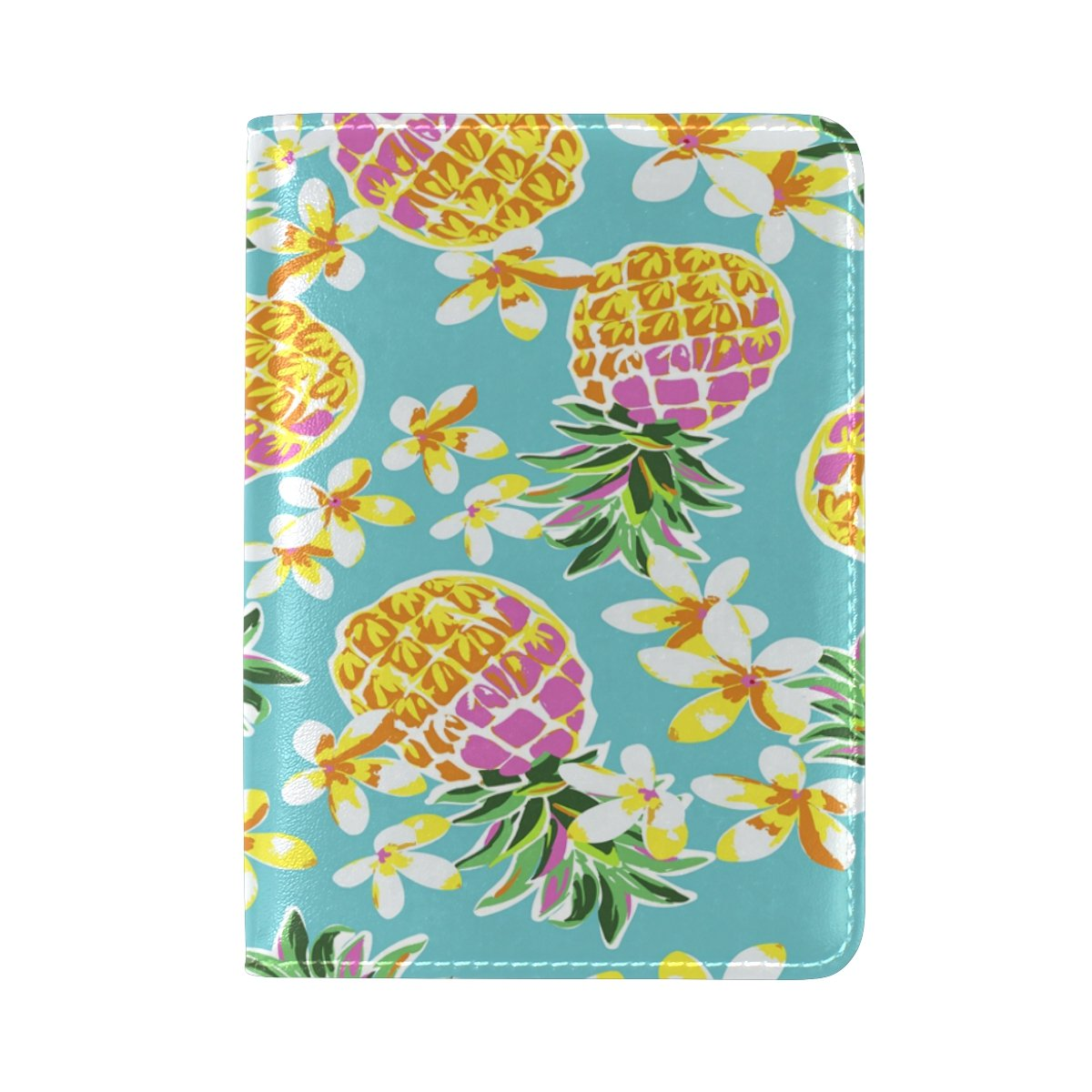 ALAZA Tropical Flower Pineapple Fruit Leather Passport Holder Cover Case Travel One Pocket