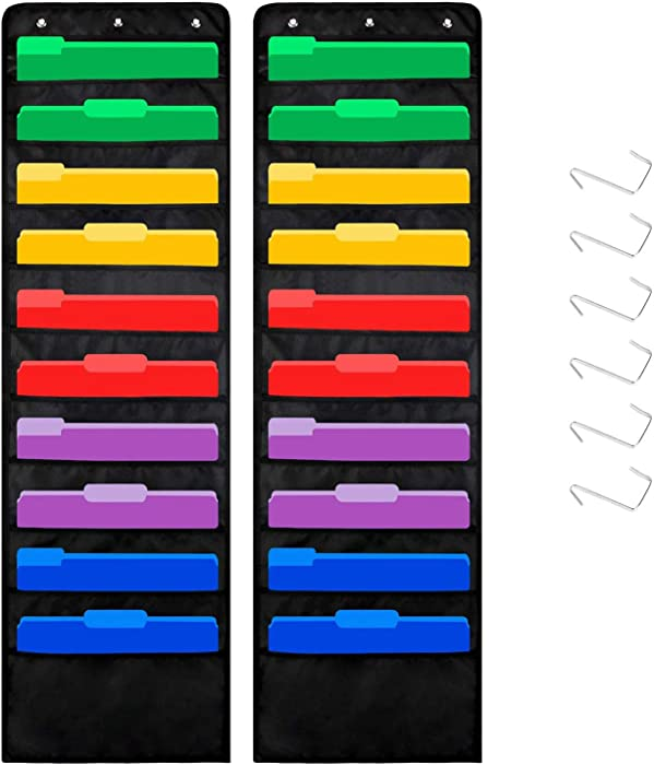 20 Pockets Premium Hanging File Folders Organizer/Wall Mount Storage Charts with 6 Over Door/Wall Hangers, Office Paper Filing for Magazine, File Folders, School/Home/Classroom Organization(2 Pack)