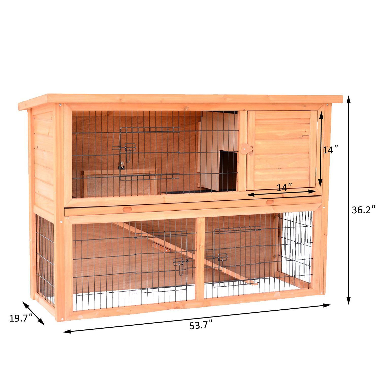 Pawhut 4-Door Small Wooden Animal House with Ramp, 54''