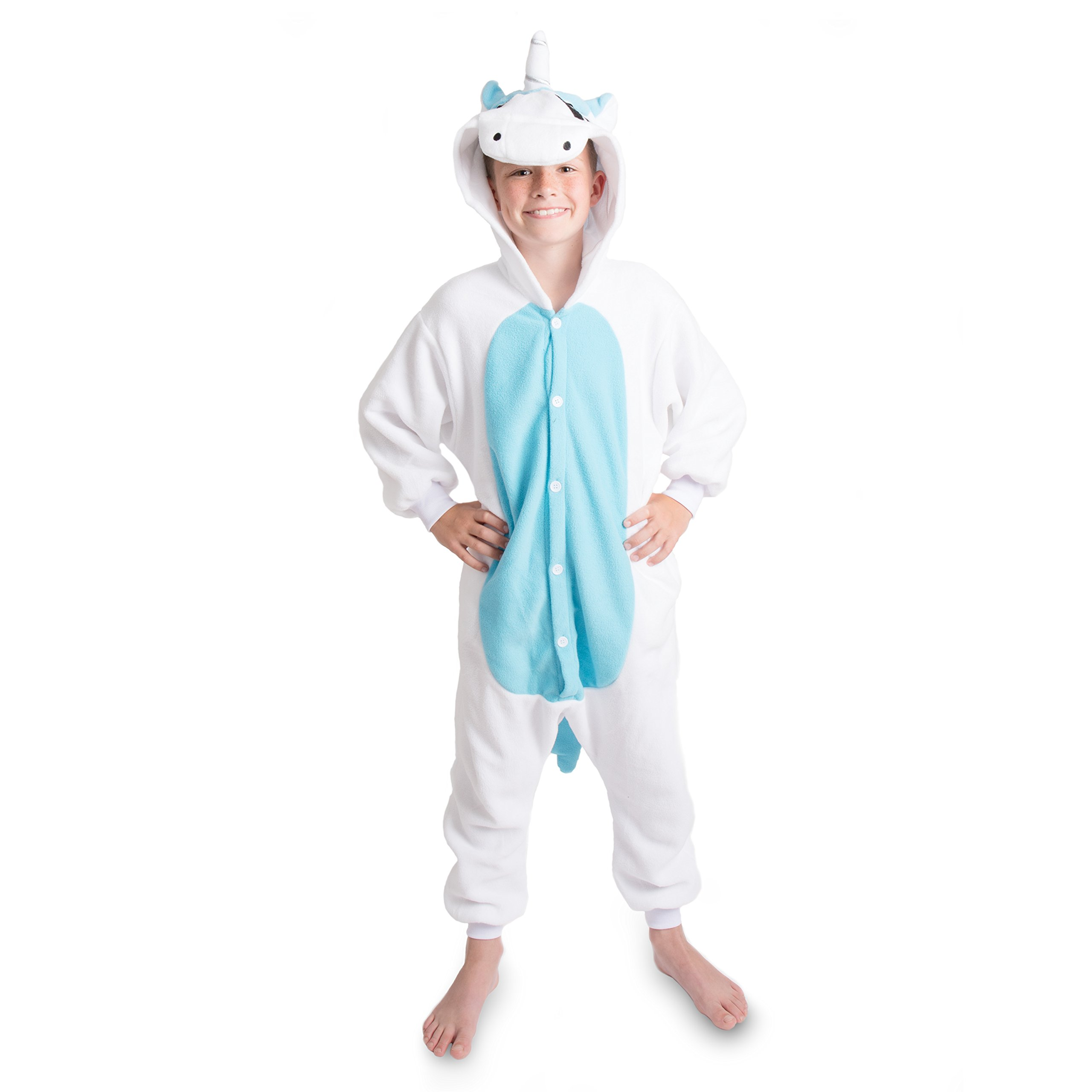 Emolly Fashion Kids Animal Unicorn Pajama Onesie - Soft and Comfortable with Pockets (6, Blue/WHT)