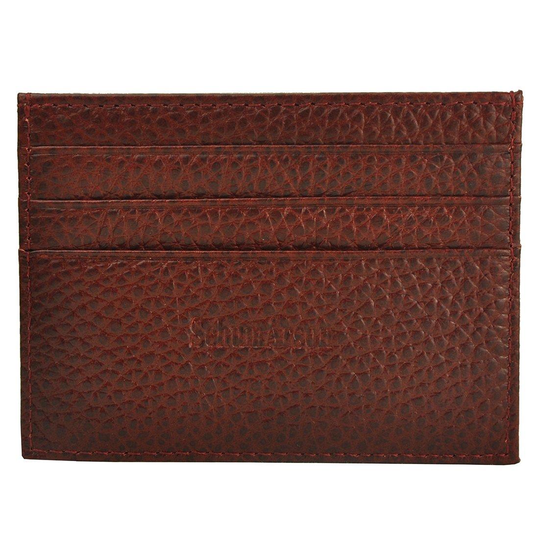 Schumarson Genuine Leather RFID Blocking Card Case Slim Card Holder Red Front Pocket Wallet for Women and Men Red
