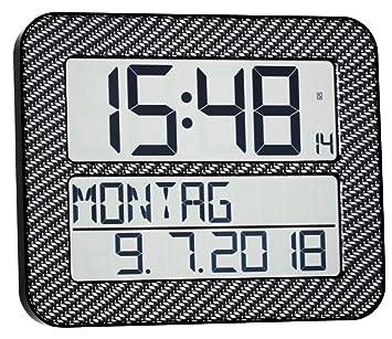 TFA Dostmann 60.4512 Timeline MAX Radio Reloj de Pared Digital (Carbono óptica)