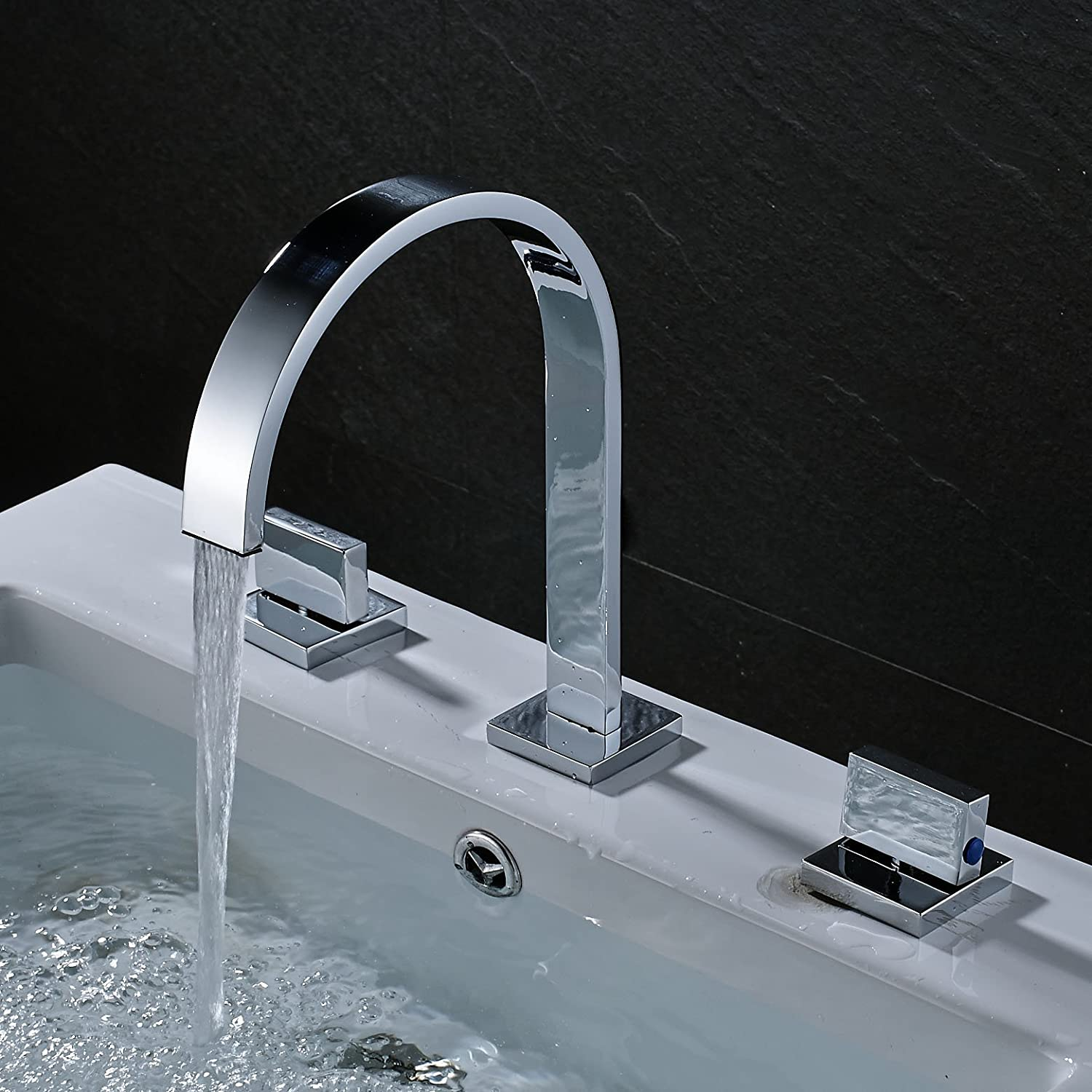 Rozin Two Handles Bath Mixer Taps Widespread Waterfall Bathroom Sink ...