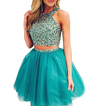 707b81a3fe Gricharim Women s Short Tulle Homecoming Dresses Two Piece Prom Dresses  Halter Ball Gowns at Amazon Women s Clothing store