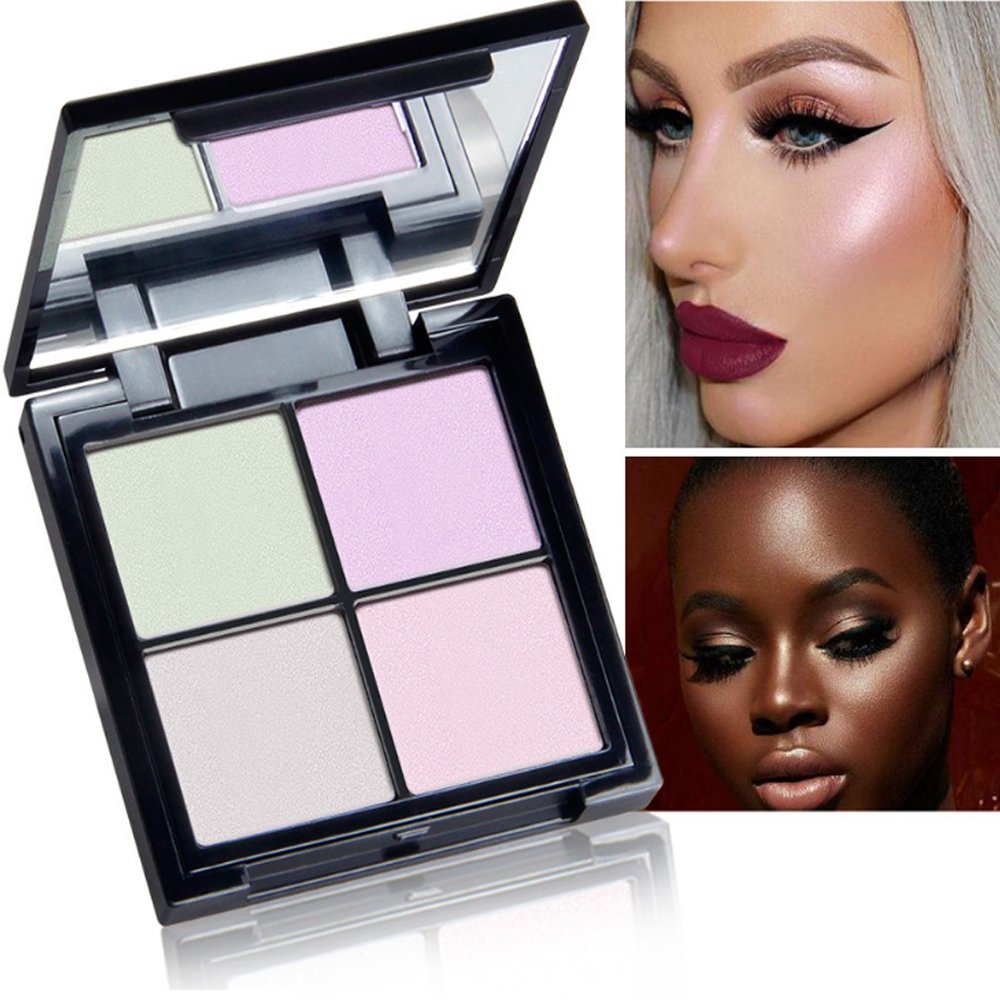 Highlighter Palette, QiBest 4 Colors Glow Kit Makeup Powder Palette Face Illuminating Highlighting & Bronzer Palette