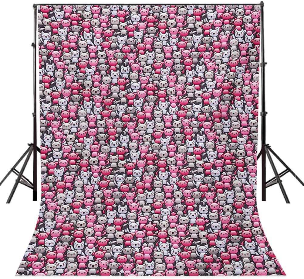 Cat 10x15 FT Photo Backdrops,Cute Kawaii Doodle Cats Pattern Smiling Winking Cheering Mascots Humorous Funny Background for Photography Kids Adult Photo Booth Video Shoot Vinyl Studio Props