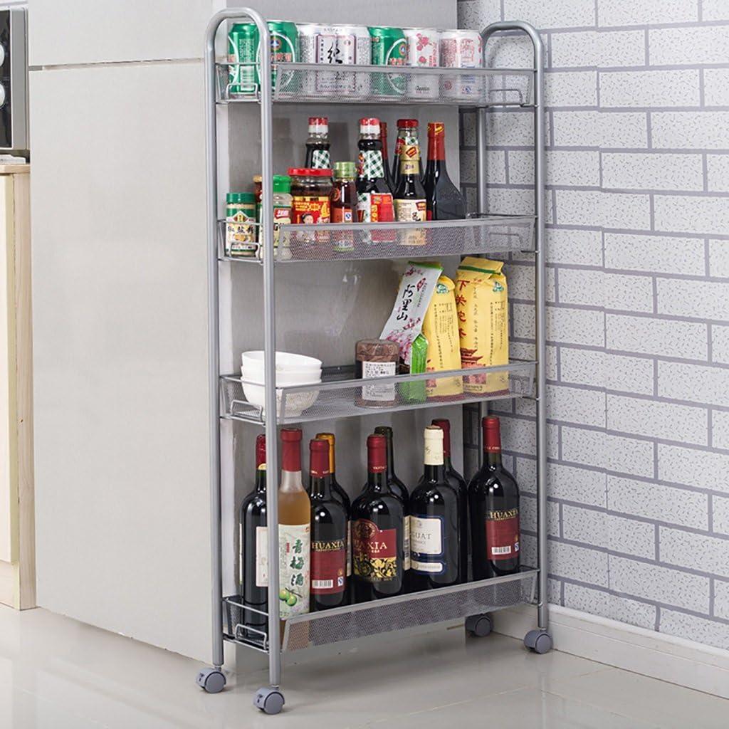 4 Tier Slide out Kitchen Trolley Rack Organizador de Almacenamiento Mueble de Pared Gabinetes Tower Holder Estante de ba/ño con Ruedas Carros de Servicio