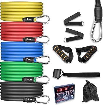 AGM Set de Bandas de Resistencia Fitness, 5 Bandas elásticas de látex con Asas, Bandas elásticas para Entrenar con Soporte de 100lbs, para Equipos de ...