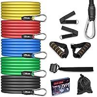 AGM Set de Bandas de Resistencia Fitness, 5 Bandas elásticas de látex con Asas, Bandas elásticas para Entrenar con…
