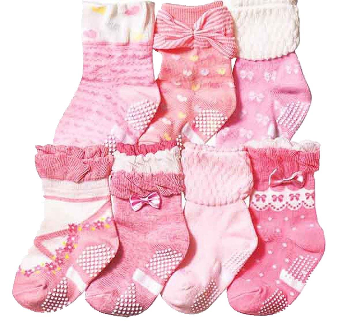 Baby Girls Short Non-Slip Socks Pink Cotton Breathable Kids Socks 7 Pair Pack Czofnjesi