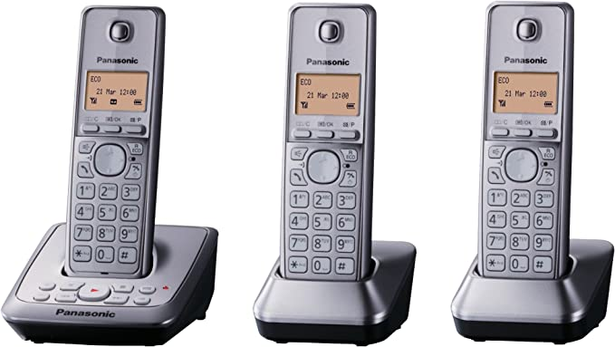 Panasonic KX-TG2723GM Trio - Tres teléfonos inalámbrico (pantalla de 3,5 cm, 1,4