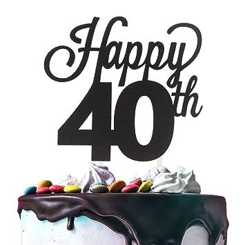 Decoración para tarta de 40 cumpleaños, doble cara, papel de ...