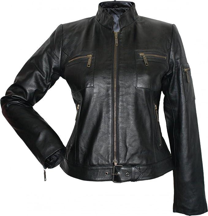 Lederjacke Jacke aus Lamm Nappa Leder schwarz